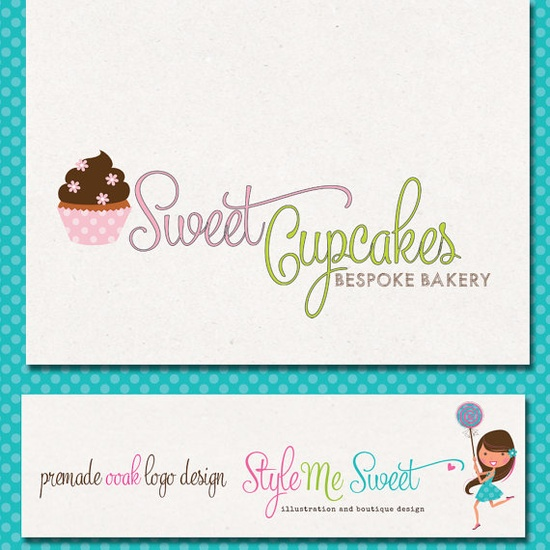 Custom Premade Logo  Cupcake Flowers Bakery by stylemesweetdesign, $75.00
