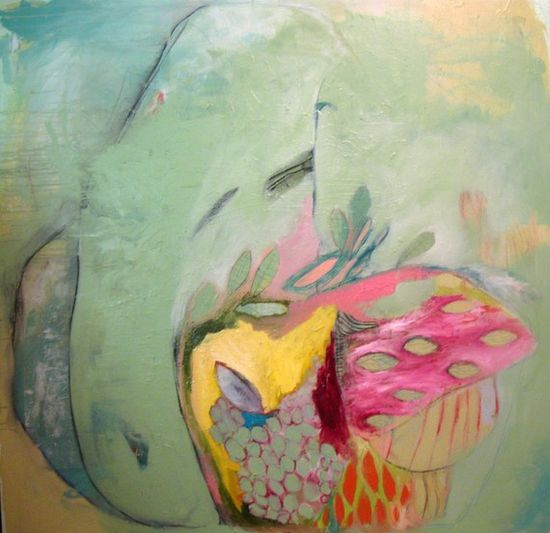Plant .   Original mixed media painting on canvas with oil, latex, pastel, glue, rice paper, pencil.    48'' x 48'' . by brooke wandall