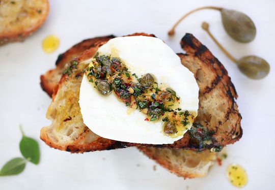 Cool Recipe: Fresh Mozzarella Toasts with Spicy Herb Oil Recipes from The Kitchn