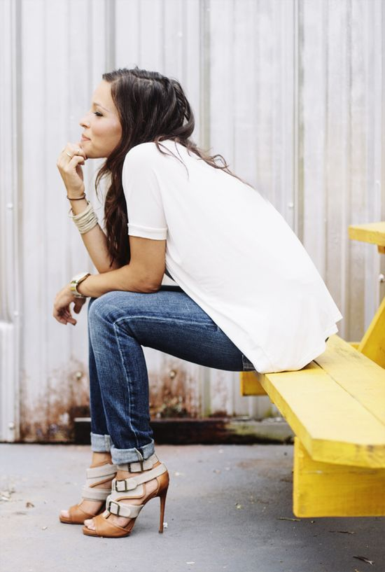 Cuffed Denim + Loose Tee -- those heels are killer! Love her style