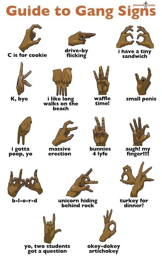 Gang signs.