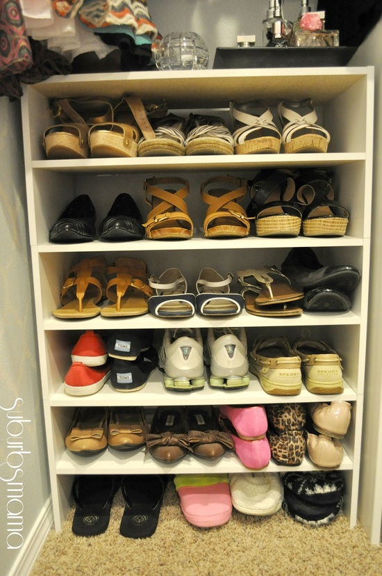 I have too any shoes..especially sandals shoe storage-shelf from home depot