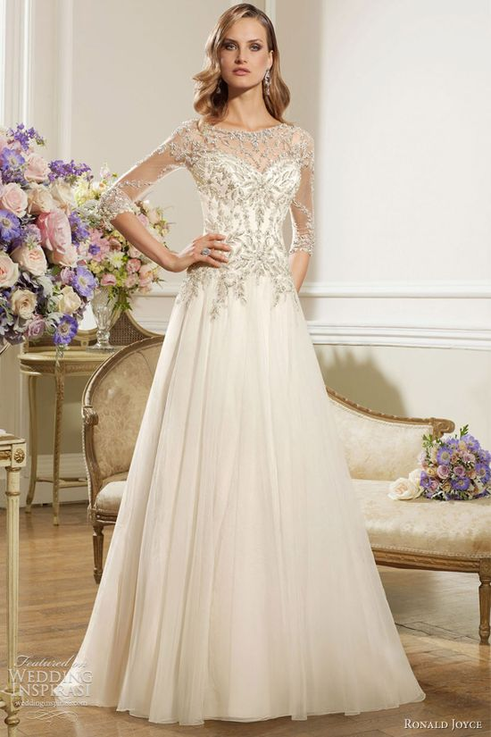 ronald joyce 2013 wedding dress three quarter illusion sleeves
