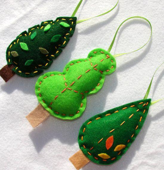 green tree ornaments
