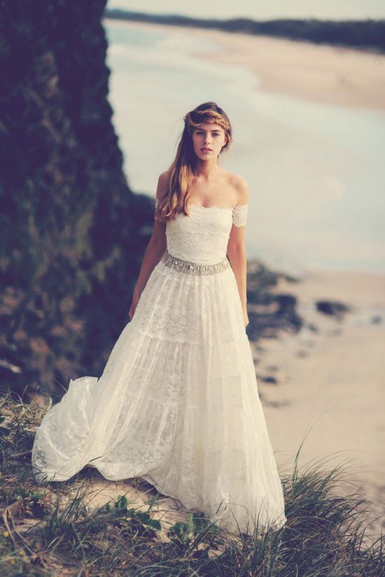 gorgeous strapless lace wedding dress with gypsy arm bands. $1,050.00, via Etsy.