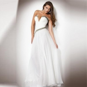 White simple sexy wedding dress