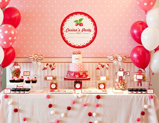 Strawberry Party Dessert Table