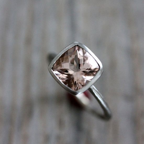 MORGANITE Ring in 14k White Gold Ring.