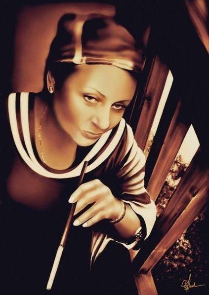Crystall Black. Art Work Design. Portrait Illustration Woman