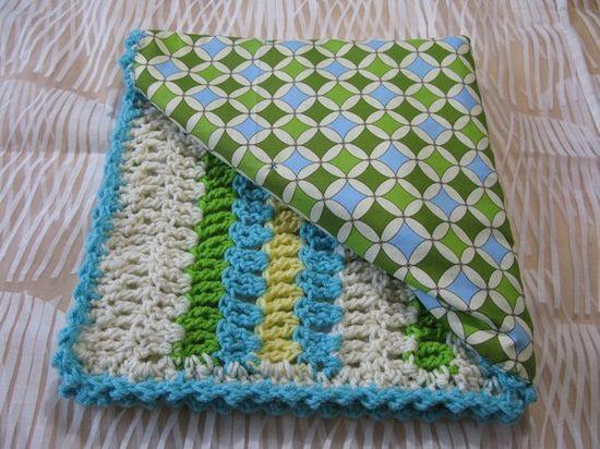 Crochet baby blanket w/ fabric lining