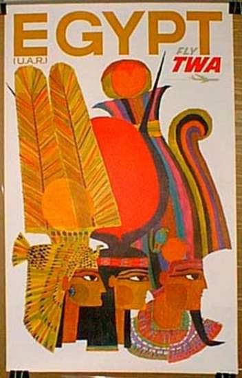TWA Original Vintage Travel Poster Egypt