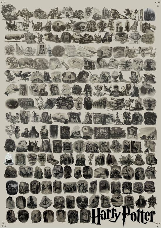 All chapter illustrations from the Harry Potter books in one image. This needs to be on my wall.