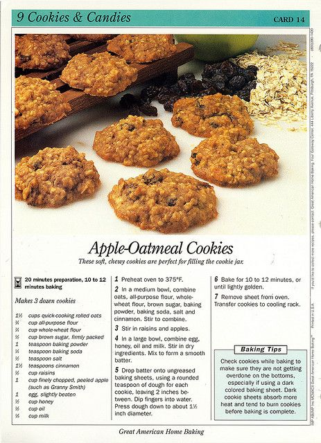 A completely delicious, autumn time perfect retro recipe for Apple Oatmeal Cookies. #food #vintage #retro #cookies #dessert #autumn #recipe