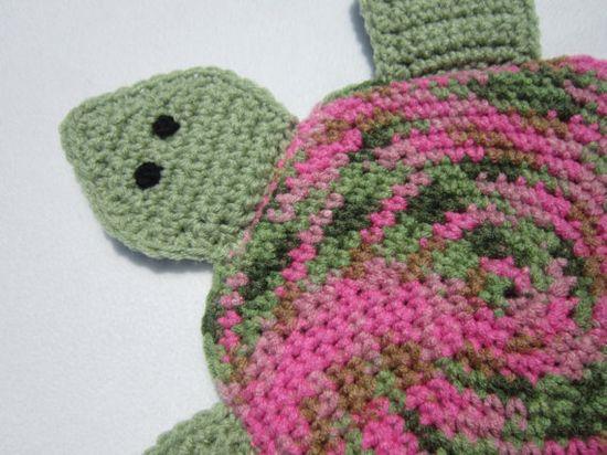 Turtle Pot Holder in Green and Pink Crochet by crochetedbycharlene, $18.00