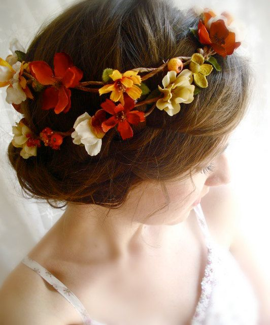 autumn flower wreath - HARVEST WEDDING - burnt orange, amber yellow, floral hair wreath
