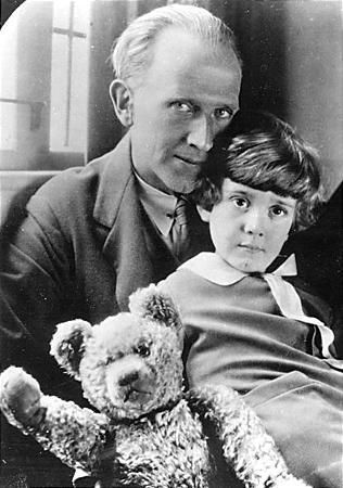 A.A. Milne, Christopher Robin and Christopher's teddy bear, the inspiration for Winnie-the-Pooh.  Looks just as I had imagined  Christopher