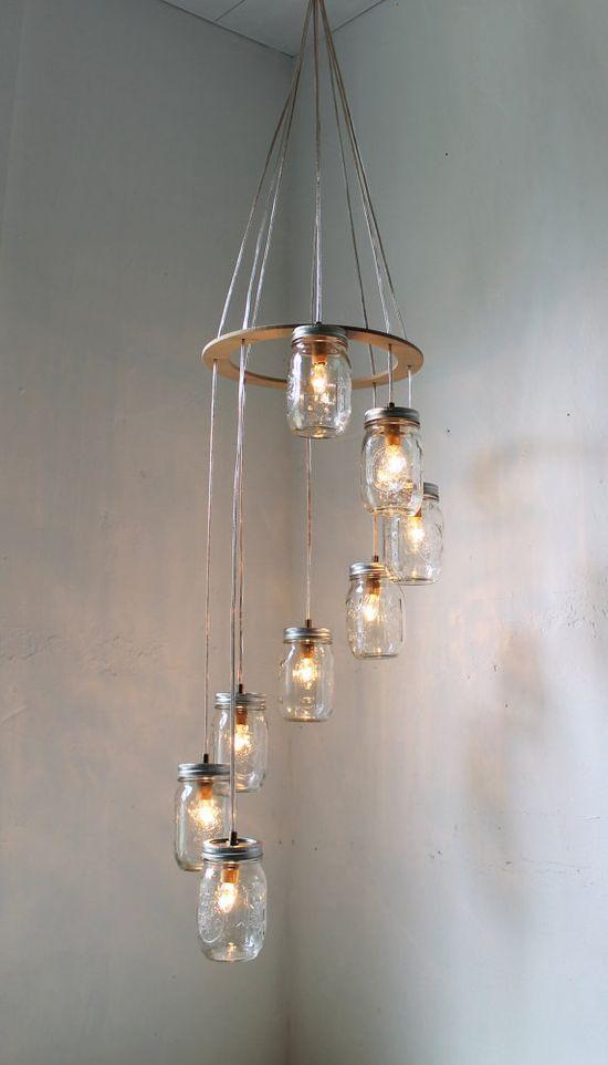 Spiral Mason Jar Carousel Chandelier Hanging Light