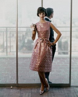 Beautiful coppery rose hued brocade cocktail dress. #vintage #fashion #1960s