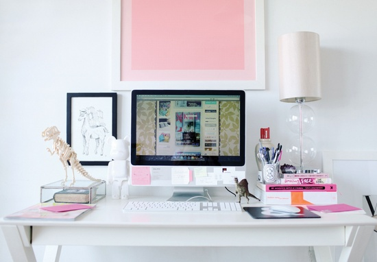Clean and simple girl's office space.