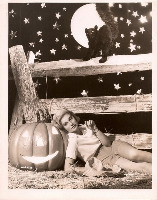 Actress Nan Grey reclines on a smiling jack-o-lantern while a started black cat looks on in this fun vintage Halloween image. #Halloween #vintage #actress #pumpkin #Nan_Grey