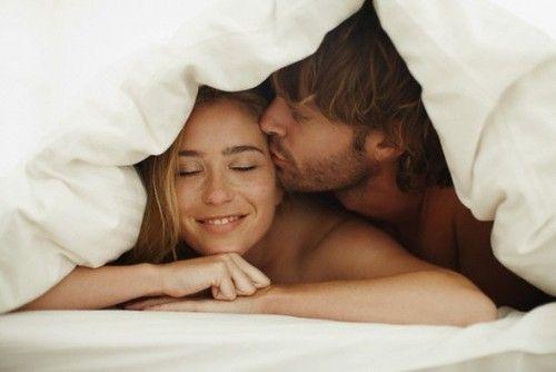 Cuddling in the morning.