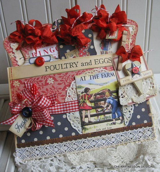 At the farm pocket and tags-farmhouse chic decor- handmade gift bag and tags