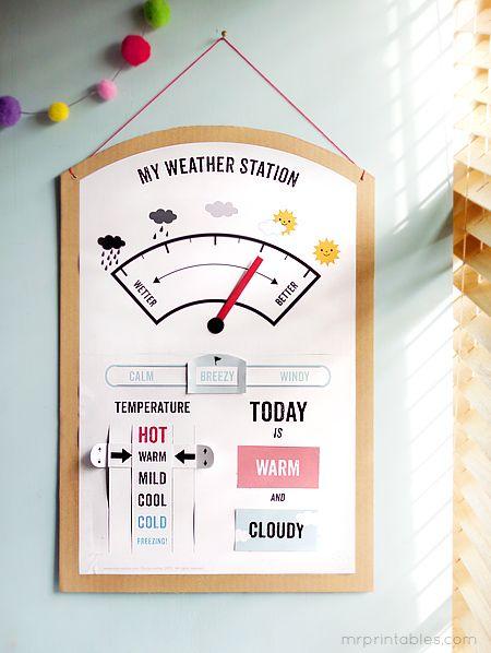 printable DIY weather station for kids