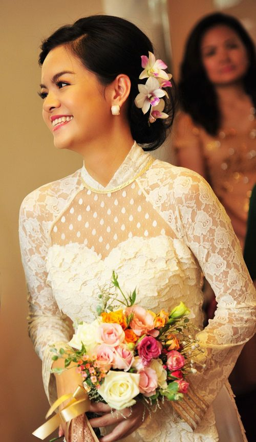 Sweetheart neckline. My ao dai will be mixed with a lacey wedding dress!