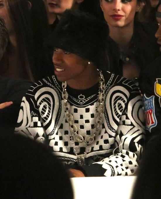 Lil Twist wears KTZ Jacquard Tattoo Sweatshirt at LA Day by Day Fashion Show