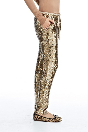sequined drawstring pants