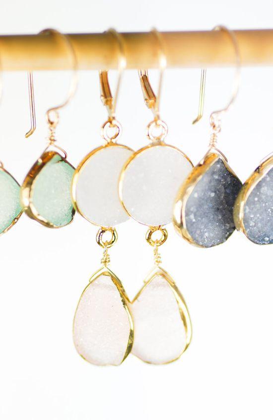 Kalala earrings - pink druzy gold earring, pink white drop earring,dangle earring, pink wedding jewelry, bridesmaid earring, wedding, hawaii www.kealohajewelr...