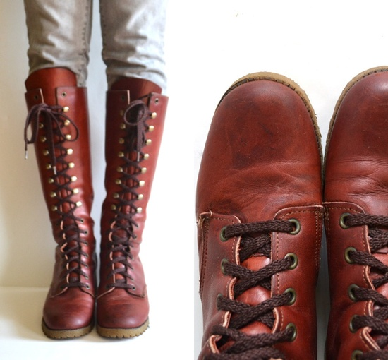 1970s Knee High Lace Up Boots