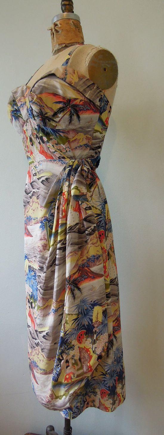 1950s Hawaiian silk dress