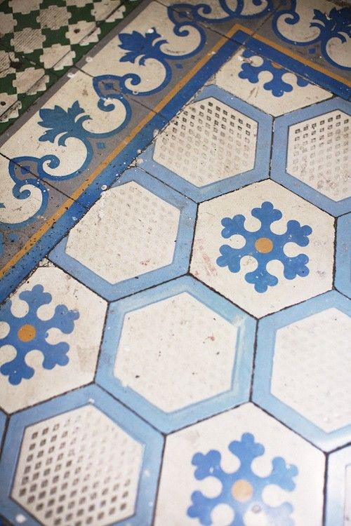 Vintage blue and white hex patterned tiles