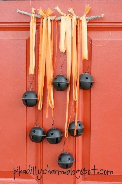 ribbon bell door decoration :) #diy #crafts #halloween #ribbon #autumn #decorations