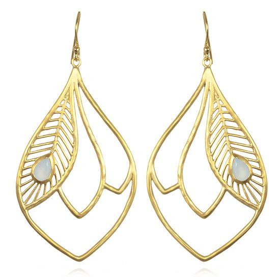 Satya Jewelry Plumage Teardrop Hoop Earrings