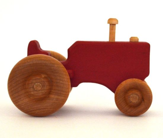 Red Wood Toy Tractor by hcwoodcraft