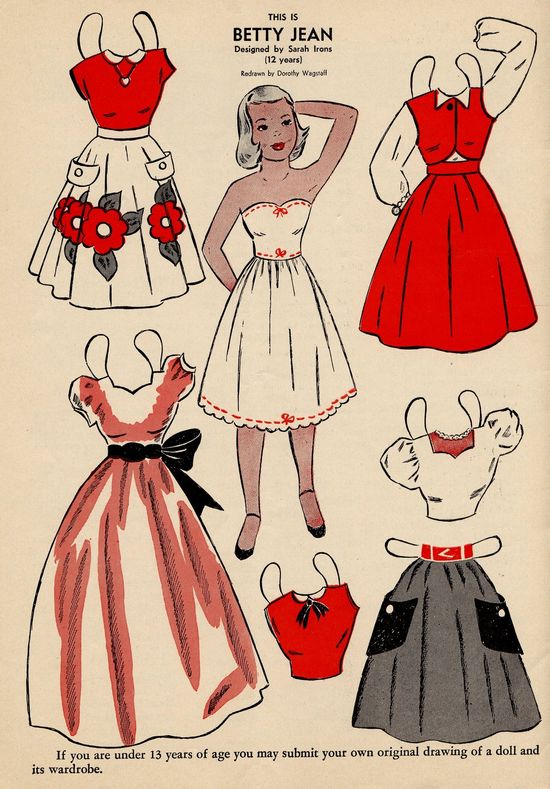 This is Betty Jean vintage paper doll