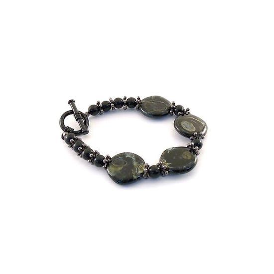 Black  Green Bracelet Swirl Czech Glass  Dark by CinLynnBoutique, $24.00