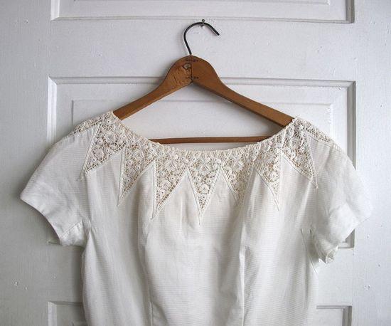 vintage lace insert blouse