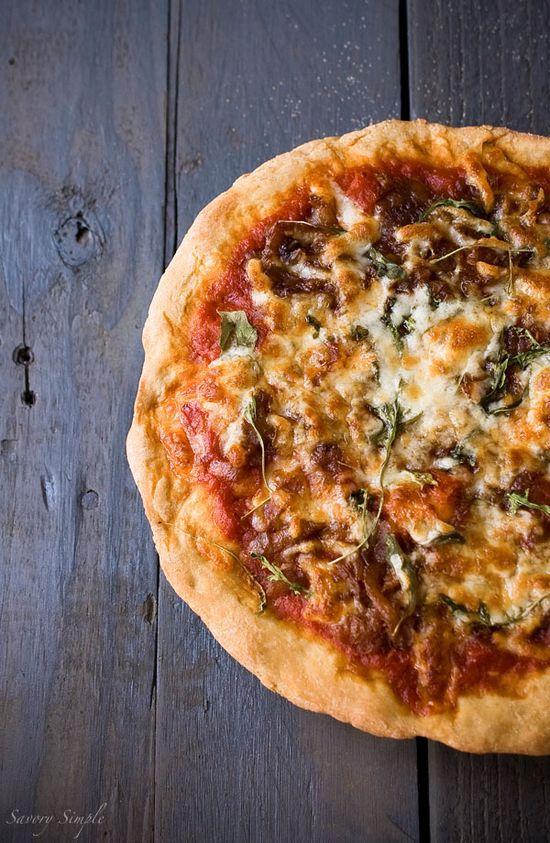 Caramelized Onion Arugula Pizza via @Jenn L Milsaps L @Jennifer Milsaps L @Jenn L @Jennifer @SavorySimple