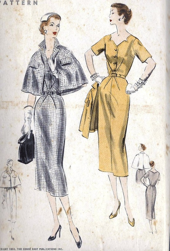 1950s Misses One Piece Dress and Cape