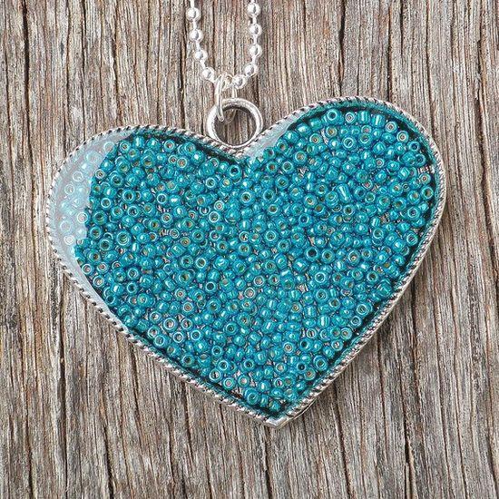 Necklace, Large Aqua Green Seed Bead Resin Love Heart Pendant