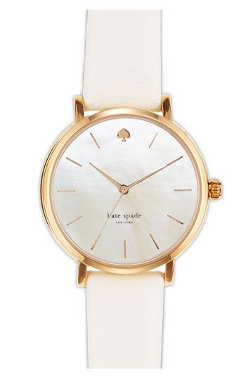 kate spade new york 'metro' round leather strap watch, 34mm available at #Nordstrom