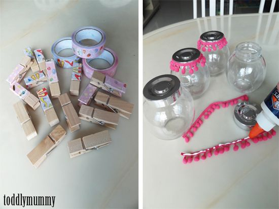 Decorate pegs with washi tape. Would make for a pretty hand made gift.