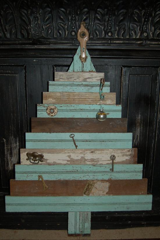 Handmade vintage wooden Christmas Trees