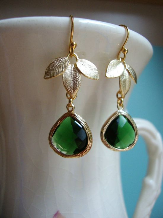 Emerald Green and Gold Leaves Earrings