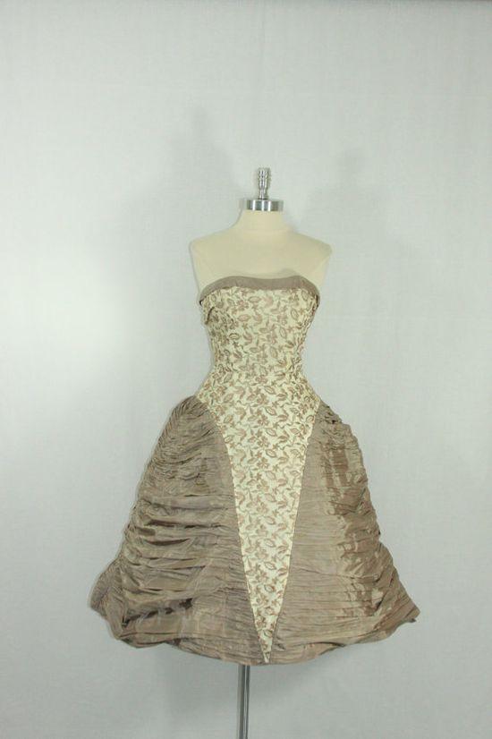 1950's Vintage Dress  Strapless Mocha Heavily Embroidered by VintageFrocksOfFancy, $220.00
