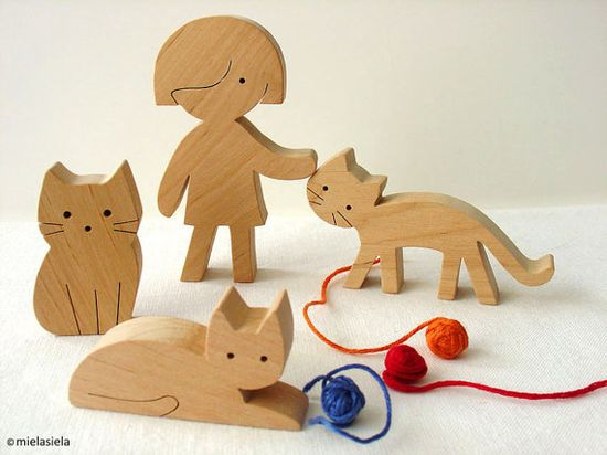Wooden cats - girl and cats - Wooden toy set - waldorf natural wood toy $32