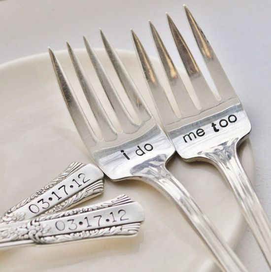 Would love these as a gift for the wedding!  :)    I Do Me Too  Vintage Wedding Cake Fork Set by jessicaNdesigns, $41.00